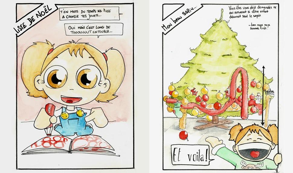 Revista BABYBJÖRN – La imagen muestra a una niña pequeña rodeada de todos los juguetes del catálogo.
