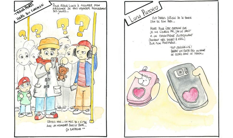 BABYBJÖRN Föräldramagasin – Tecknade bilder på en pappa som tar en selfie med ett gosedjur i t-banan samt två mobiler med likadana hjärtformade stickers på.