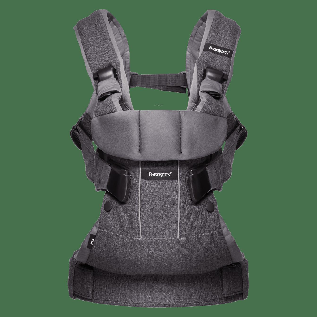 BABYBJÖRN Bärsele One i denimgrå/mörkgrå, en ergonomisk bärsele i cotton mix för nyfödda och upp till 3 års ålder.