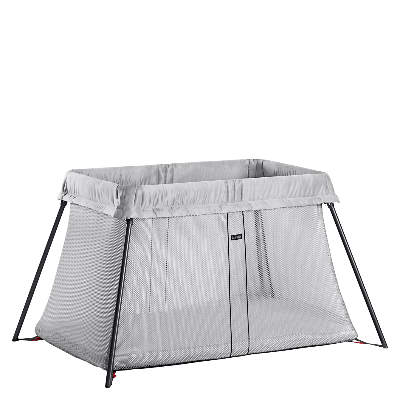 BABYBJÖRN Travel Crib Light in silver, easy to take with you and simple to set up and fold up.