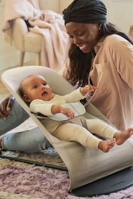 Bouncer Balance Soft Beige Grey Cotton Jersey - BABYBJÖRNA