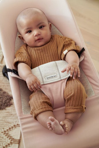 Bouncer Balance Soft Pink Grey Cotton Jersey - BABYBJÖRNA