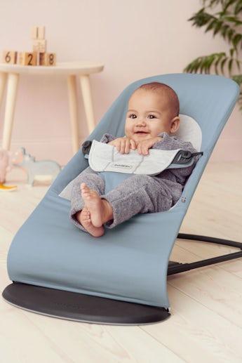 Babysitter Balance Soft Blå Grå Cotton Jersey - BABYBJÖRN
