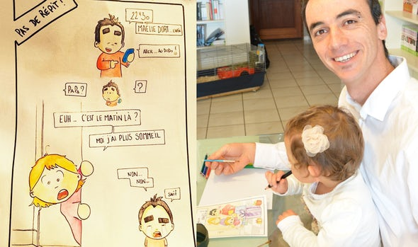 BABYBJÖRN Magazine – Daddy blogger Pierre Bel draws with his daughter.