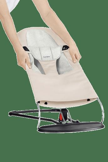 Extra Tygsits för Babysitter Balance Soft Beige Grå Cotton Jersey - BABYBJÖRN