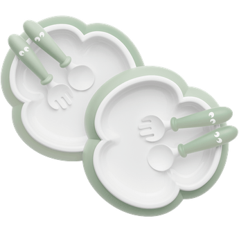 Baby plate spoon and fork 2 sets powder green-BABYBJÖRN