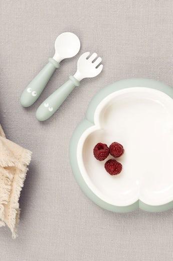 Assiette Cuillere et Fourchette pour bébé, 2 ensembles, Vert Pastel - BABYBJÖRN