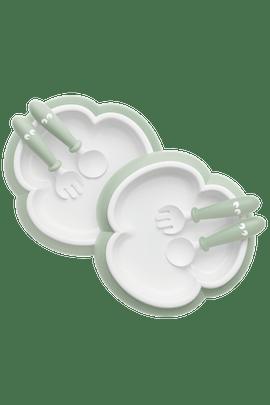 Barntallrik, Sked och Gaffel, 2 set, blekgrön - BABYBJÖRN