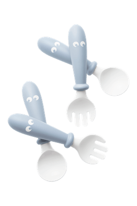 Baby Spoon and Fork, 4 pcs Powder Blue in BPA-free plastic - BABYBJÖRN