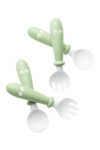 Baby Spoon and Fork, 4 pcs Powder Green in BPA-free plastic - BABYBJÖRN