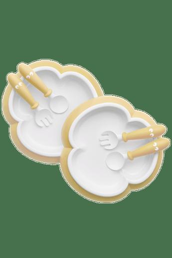 Assiette, Cuillère et Fourchette pour Bébé Jaune Pastel - BABYBJÖRN
