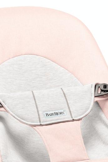 Fabric Seat for Bouncer Balance Soft Light Pink Grey Cotton Jersey - BABYBJÖRN
