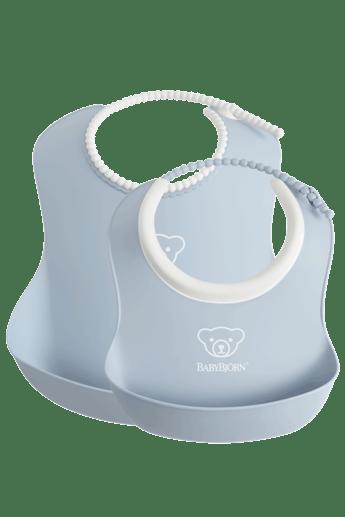 Feeding Bib set in 2 sizes, Powder Blue - BABYBJÖRN