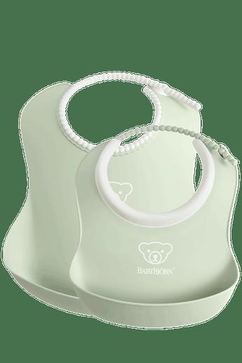 Feeding Bib set in 2 sizes, Powder Green - BABYBJÖRN