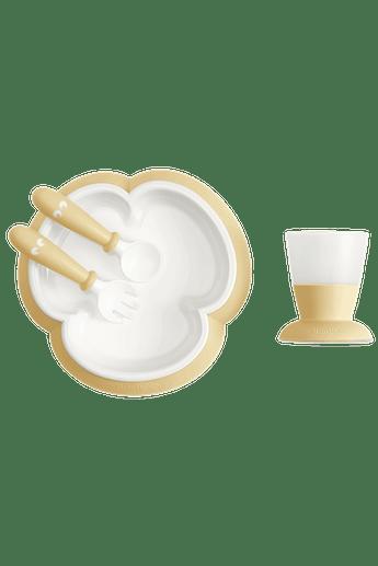 Kindergeschirr 4 Teile Blassgelb mit cleverem Design, das das selbstständige Essen fördert - BABYBJÖRN