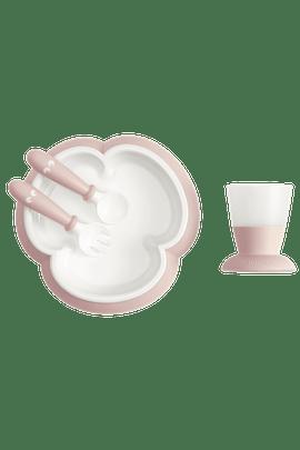 Kindergeschirr 4 Teile Blassrosa mit cleverem Design, das das selbstständige Essen fördert - BABYBJÖRN