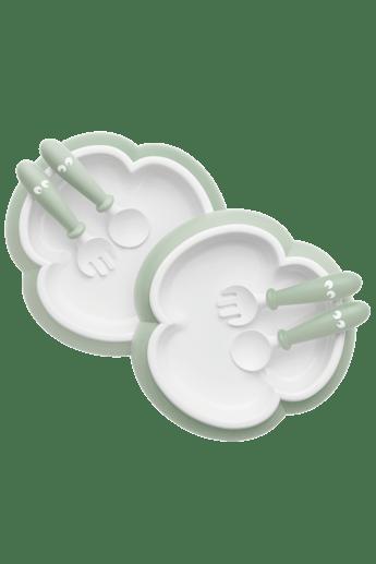 Plato, cuchara y tenedor bebé Verde pastel - BABYBJÖRN