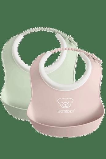 Small Baby Bib 2-Pack Powder Green and Powder Pink - BABYBJÖRN