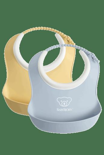 Small Baby Bib 2-Pack Powder Blue and Powder Yellow - BABYBJÖRN