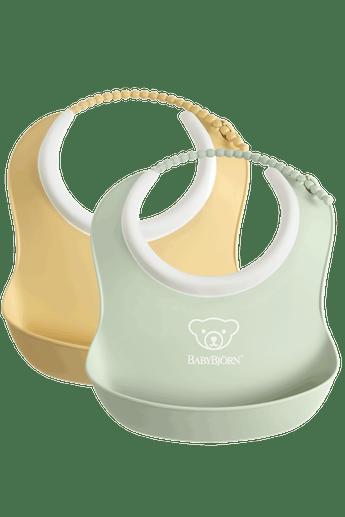 Small Baby Bib 2-Pack Powder Green and Powder Yellow - BABYBJÖRN