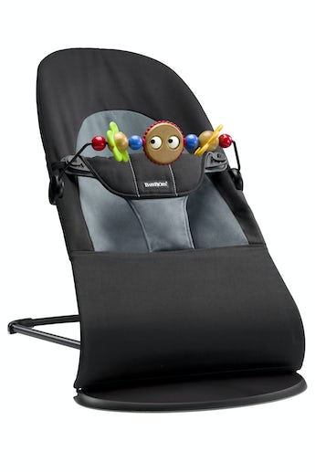 Bouncer Balance Soft Black/Darkgrey in Cotton with Toy Googly Eyes - BABYBJÖRN