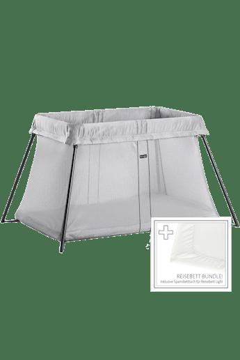 Reisebett Light Silber mit Spannbetttuch - BABYBJÖRN