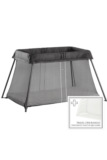 Travel Cot Light Black Bundle with Sheet - BABYBJÖRN