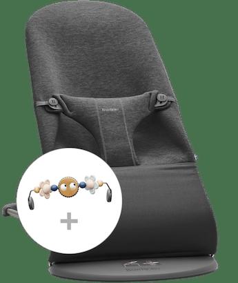 Babywippe Bliss Schwarzgrau 3D Jersey mit Spielzeug Fröhliche Augen in Pastellfarben - BABYBJÖRN