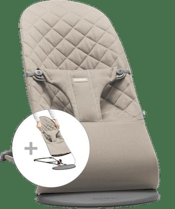 Babywippe Bliss mit zusätzlichem Stoffsitz in Sandgrauer Baumwolle - BABYBJÖRN