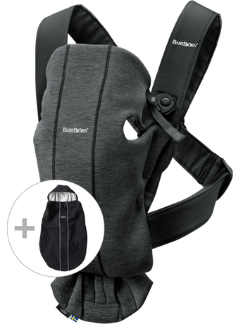 Baby Carrier Mini in Charcoal with cover for Baby Carrier - BABYBJÖRN