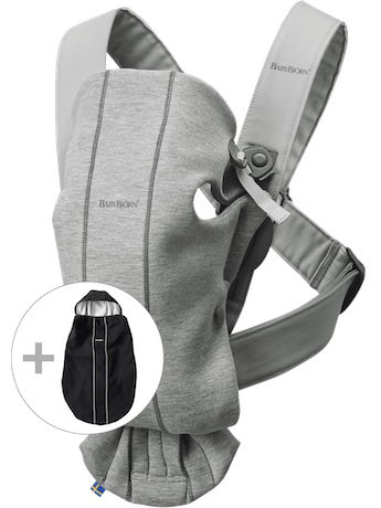 Baby Carrier Mini Light Grey in 3D Jersey with Cover - BABYBJÖRN