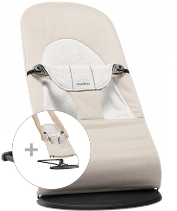 Bouncer Balance Soft with Extra Fabric Seat in Beige/Grey Cotton-Jersey - BABYBJÖRN