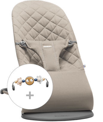 Bouncer Bliss in Sand grey Cotton with toy Googly Eyes Pastel - BABYBJÖRN