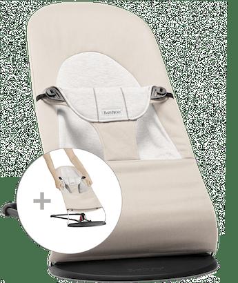Hamaca Balance Soft con Asiento de Tela Adicional Beige/Gris en Cotton-Jersey - BABYBJÖRN
