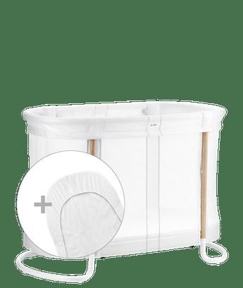 Praktiskt Babysäng i mesh med två höjdlägen med överdragslakan kombinerat - BABYBJÖRN