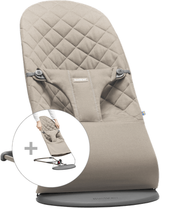 Babysitter Bliss med extra tygsits Sandgrå Cotton - BABYBJÖRN
