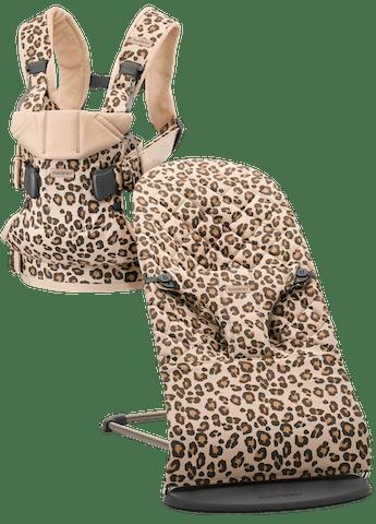 Babywippe Bliss und Babytrage One in Beige/Leopard cotton bundle