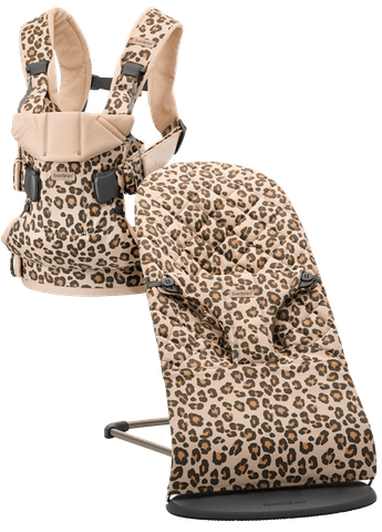 Baby Carrier One and Bouncer Bliss in Beige/Leopard Cotton - BABYBJÖRN