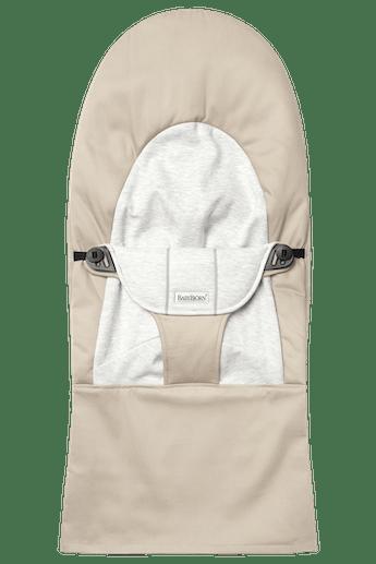 Fabric Seat for Bouncer Balance Soft Beige Grey Cotton Jersey - BABYBJÖRN