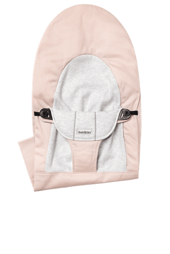 Fabric Seat for Bouncer Balance Soft in Light PInk and Grey Cotton/Jersey - BABYBJÖRN