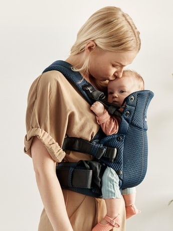Baby Carrier Harmony Navy Blue 3D Mesh with padded back support and an ergonomic design