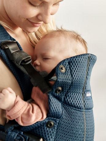 Porte-Bébé Harmony Bleu Marine 3D Mesh ultra confortable avec un support lombaire rembourré et une conception physiologique
