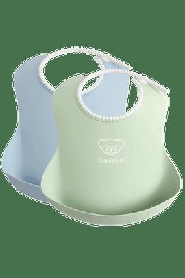 Babero bebé 2 uni color verde y azul pastel - BABYBJÖRN