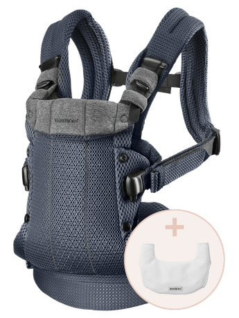 Baby Carrier Harmony Anthracite 3D Mesh with Bib to keep the baby carrier clean and fresh for longer