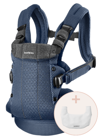 Baby Carrier Harmony Navy blue 3D Mesh with Bib to keep the baby carrier clean and fresh for longer