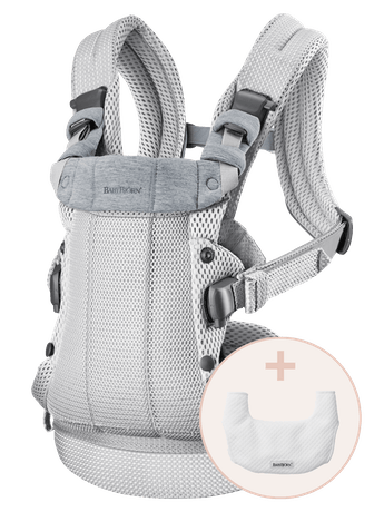 Baby Carrier Harmony Silver 3D Mesh with Bib to keep the baby carrier clean and fresh for longer